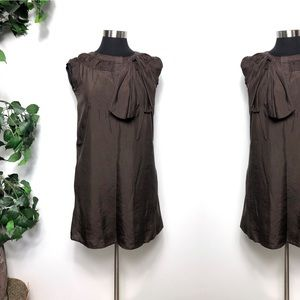 See By Chloe Brown Pussy Bow Ruffle Dress Size - 4